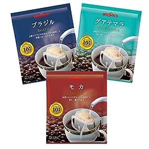 AZ-2071 ブルックス ドリップバッグコーヒー ストレート 3種セット 計90袋 ブラジル グアテマラ モカ 珈琲 BROOK'S BROOKS