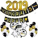LEWOTE 卒業パーティー用デコレーション用品 2019年 [45個] 2019年卒業バルーンバナーセット [2019年の大きなバルーン/おめでとうバナー/ラテックスバルーン/パターンホイルバルーン]