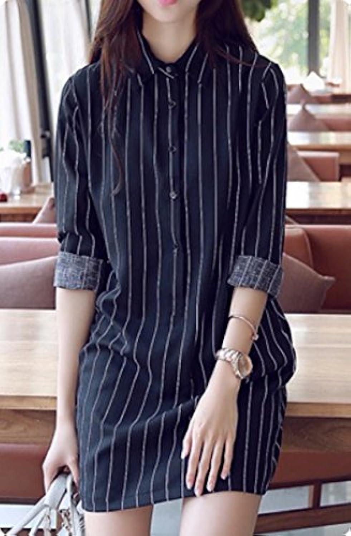 Heaven Days(ヘブンデイズ)ストライプ シャツ ロング丈 きれいめ ワンピース チュニック レディース セレブ ファッション 16040149