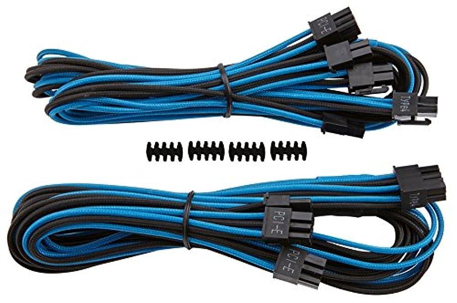 フリース装置モディッシュCorsair Premium Individually Sleeved PCIe Cables with Dual Connectors BLUE BLACK PS732 CP-8920185