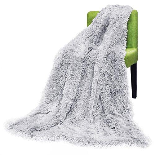 Misshow 毛布 ブランケット マイクロファイバー ふわふわ 掛け毛布 毛足の長いシャギー 保温 洗える シングルサイズ… (グレー)
