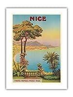 ニース、フランス - コードダジュール - ビンテージな世界旅行のポスター によって作成された モレル・ド・タングリー c.1900 - プレミアム290gsmジークレーアートプリント - 30.5cm x 41cm