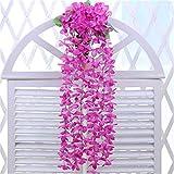 人工の紫陽花花の蔓の壁藤のバスケットぶら下がっている結婚式の家庭をマウントガーデンバルコニーの壁草花の装飾 (色 : 紫の)