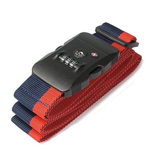 TSAロックベルト スーツケースベルト TSAロック搭載 ダイヤル式 3桁 ...
