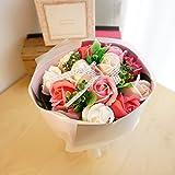 【ベルシック】 フレグランスソープフラワー ローズ・ピンク ほのかに香るお花  枯れないお花  お祝・お見舞い ギフトクリアバック付   (ピンク)