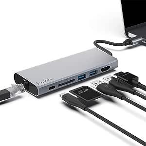 ベルキン ハブ ドッキングステーション LAN/USB-C 60W / 4K HDMI 出力/SDカード/USB-A PD対応 iPad Pro MacBook Pro Surface対応 F4U092BTSGY-A
