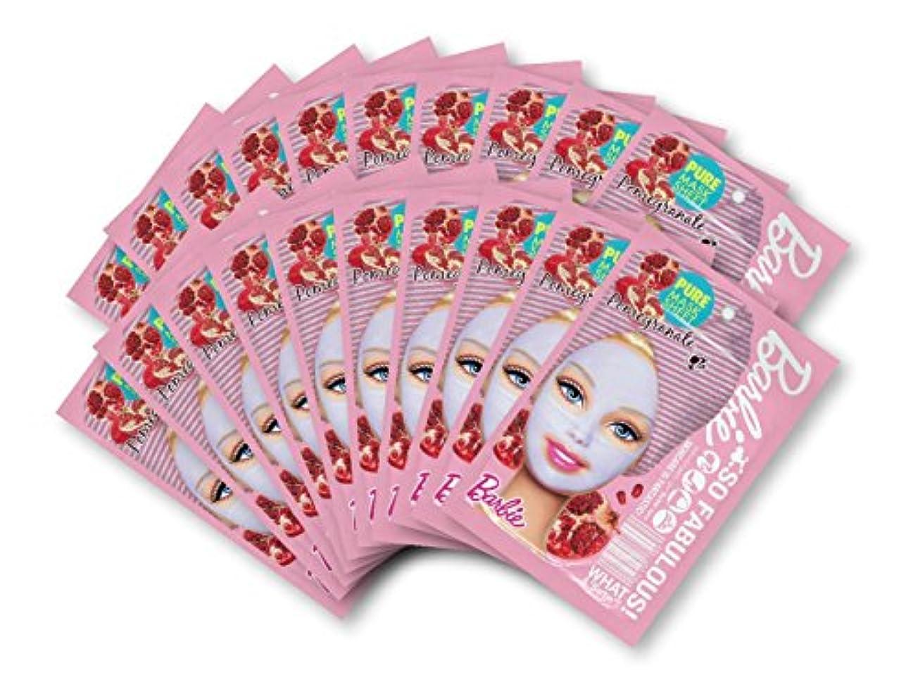 騒加速する一回バービー (Barbie) フェイスマスク ピュアマスクシートN (ポメグラネート/ざくろ) 25ml×20枚入り [保湿] 顔 シートマスク フェイスパック