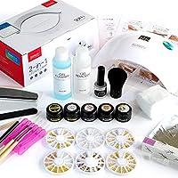 プリジェル ジェルネイルキット カラージェル4色+UV-LEDライト48W(ローヒートモード・タイマー機能付)+ネイルアート用品64種付 / 6カ月保証