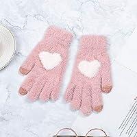 暖かい 手袋 手袋ニット女性のタッチスクリーン冬の柔らかいラビットウールニット手袋暖かいミトン手袋 SGSJP (Color : ピンク, Gloves Size : One Size)