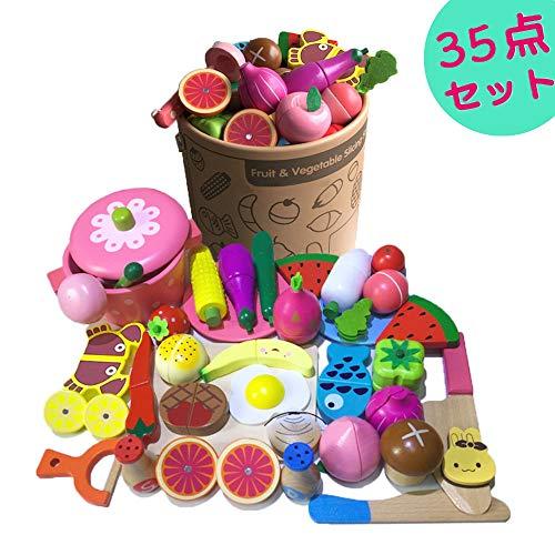 LDHouse 35点おままごと、人気おもちゃ 100%天然木製 おままごとセット 磁石のおもちゃ 男の子と女の子 誕...