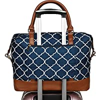 Women Ladies Canvas Weekender Bag Overnight Carry-on Tote Duffel in Trolley Handle