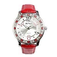 【BIDEN バイデン】日本製ムーブメント 華やかラインストーン レザーベルト BD002 レディース腕時計 RED [並行輸入品]