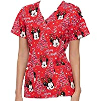 Womens Holiday Scrub Top Minnie Red Christmas Mock Neck Licensed