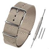 Airself NATOタイプ 時計ベルト 時計バンド ナイロン 替えバンド 替えベルト (交換説明書 交換工具 バネ棒付) (18mm, ベージュ)