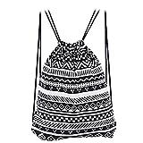 AutoLover®エスニック調巾着リュック巾着バックパック 巾着袋 ショルダーバック ストレージ ポーチ 民族風 旅行 ナップサック 4色選択(ブラック)