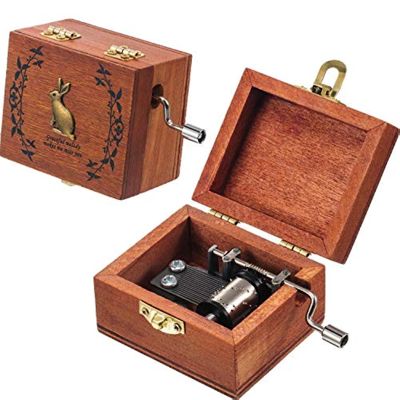 Tatuo レトロ木製オルゴール アンティーク ハンドクランク オルゴール 2種類の音楽
