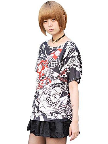 (エーシーディーシーラグ) ACDCRAG PUNKサムライ Tシャツ 半袖 派手 カワ 赤 黒 パンク ロック 原宿系 ファッション 和柄 浮世絵 侍 メンズ レディース 江戸