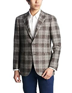 Green Label Relaxing Linen Cotton Plaid 2-button Patch Pokcet Jacket 3122-110-0357: Brown