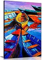 ブルー油彩画Boats &海現代キャンバス壁アート画像印刷 A0 91x61cm (36x24in) 0615517264526