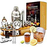 Cocktail Shaker Set with Stand, 24 Pcs 750mL Stainless Steel Cocktail Bartender Kit with Stand,Perfect Home Bartending Kit an