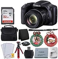 Canon SX530 HS PowerShot デジタルカメラ 50倍光学ズーム & 内蔵Wi-Fi (ブラック) + 32GB メモリカード+ SCB650 ガジェットバッグ + フレキシブル三脚 + リースフォトオーナメント グリーン レッド - ホリデーセット