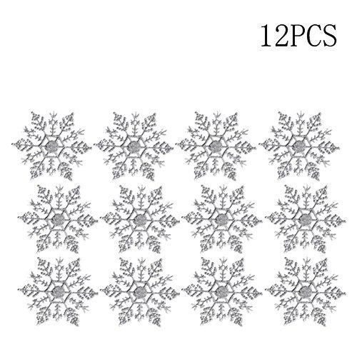 (デイリー スウィート)Daily Sweet クリスマス用品 クリスマスオーナメント 多色 キラキラ スノーフレーク 雪の結晶 12個入り クリスマスツリー飾り クリスマス 装飾グッズ (シルバー)