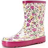 Hellozebra 子供用レインブーツ 磁器風長靴 - 高品質の天然ゴム製,軽量,快適,耐滑 19.0cm ピンク
