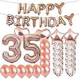 スイート35歳の誕生日デコレーション パーティー用品 ローズゴールド数字35バルーン 35番ホイルマイラーバルーン ラテックスバルーンデコレーション 女の子、女性、男性、写真撮影用小道具
