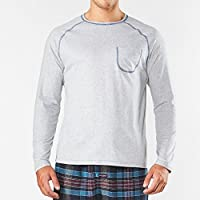 Men's Long Sleeve Cover Stitch Raglan Cotton Pyjama Tee - Grey Marle