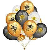ゴールド&ブラック&ホワイトカラーラテックスプリントクラス2019卒業キャップバルーン 50個 - 卒業パーティーデコレーション用品