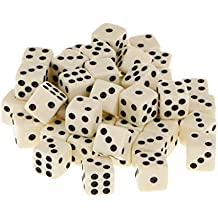 Flameer 50pcs 12mm Opaque Six Sided Spot Dice Games D6 D&D RPG Wargaming Yellow