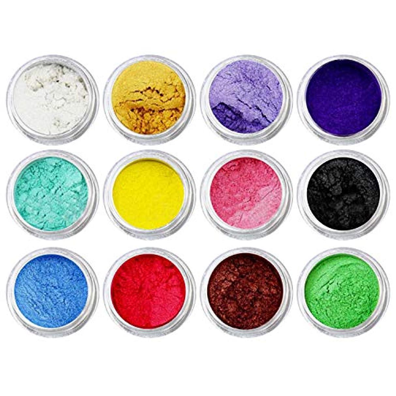 ポンプ拡散するマナーDIYネイルアートクラフトプロジェクトスライム作り用品のための12個混合色着色顔料マイカパールパウダー