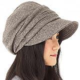 AWシャイニングキャスケット 大きいサイズ 小顔 帽子 レディース キャスケット ハット つば長 つば広 紫外線対策 UV 秋冬 【フリーサイズ(56-58cm)-ブラウン】