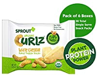 Sprout Organic オーガニック Curlz Toddler Snacks, White Cheddar, 5 Count Box of 0.25 Ounce Single Serve Packets (Pack of 6 Boxes)