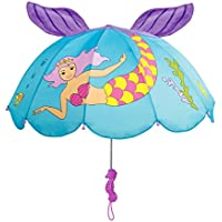 Kidorable Blue Mermaid Umbrella for Girls with Fun Seahorse Handle and Pop-Up Tail