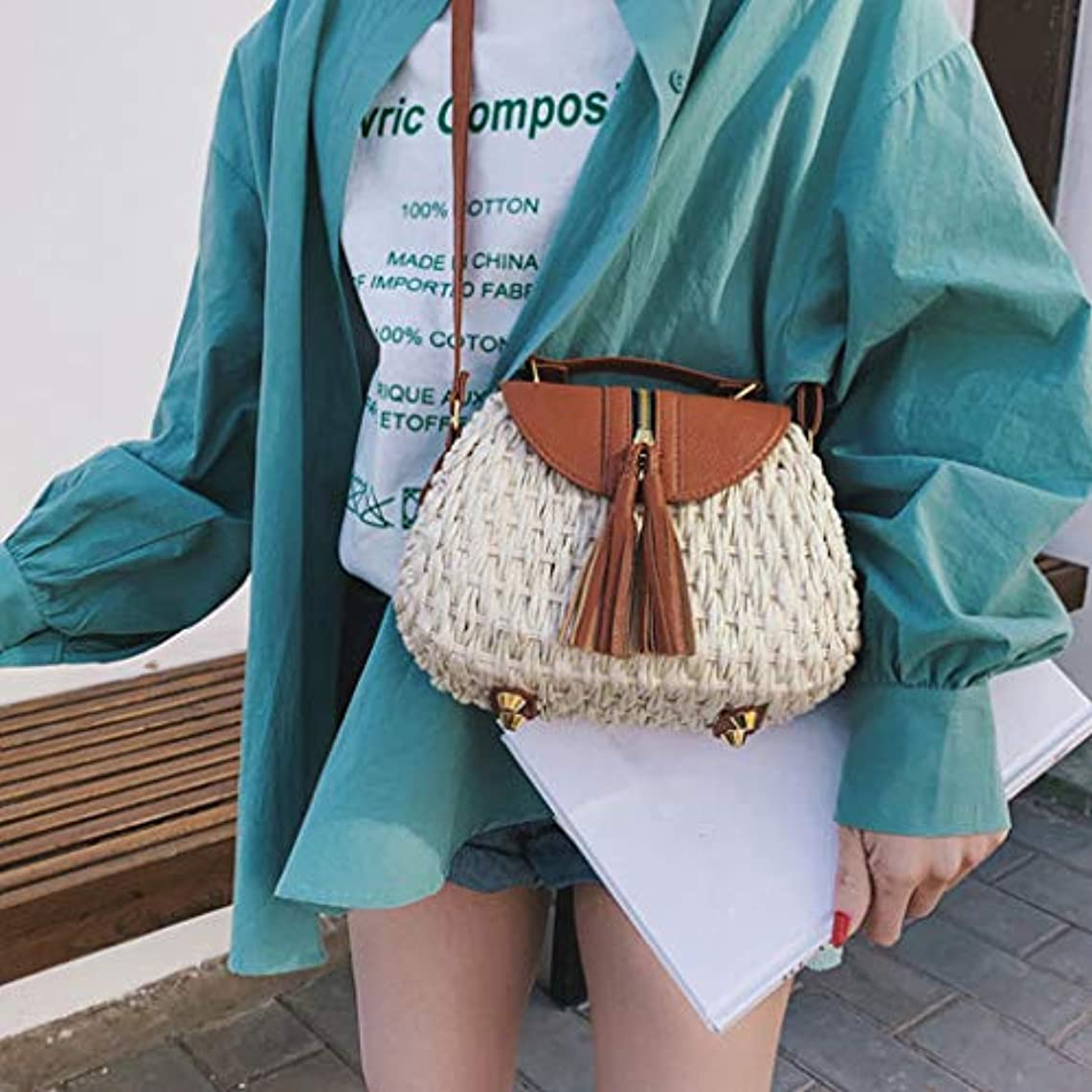 エクスタシースラッシュファンド女性の流行のタッセルはショルダー?バッグ、女性浜の余暇のクロスボディ袋を織ります、女性のタッセルは浜様式のメッセンジャー袋を織ります、女性方法対照色のビーチ様式のメッセンジャー袋 (ベージュ)