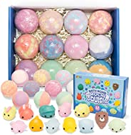 Bath Bombs for Kids with Mochi Squishy, 12 Pack Bubble Bath Bombs with Surprise Toy Inside, Natural Essential