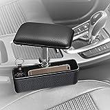 Kayafar 車用アームレスト 隙間アームレスト ボックス 肘掛け 肘置き 角度と高度調整可能 本革調 多機能 車用 収納ボックス 車内のキーやスマホなど収納 スッキリ&便利 置くだけ簡単 運転席 助手席 疲労を軽減((ブラック)