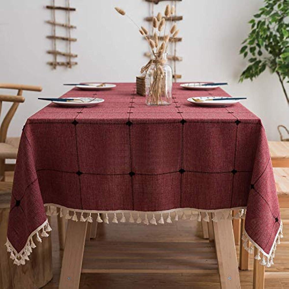 動詞アメリカ失われたコットン リネン 長方形 テーブルクロス, 刺繍 格子 テーブルクロスとタッセル 防塵 洗えるダイニングテーブルカバー -ワインレッド 140x300cm
