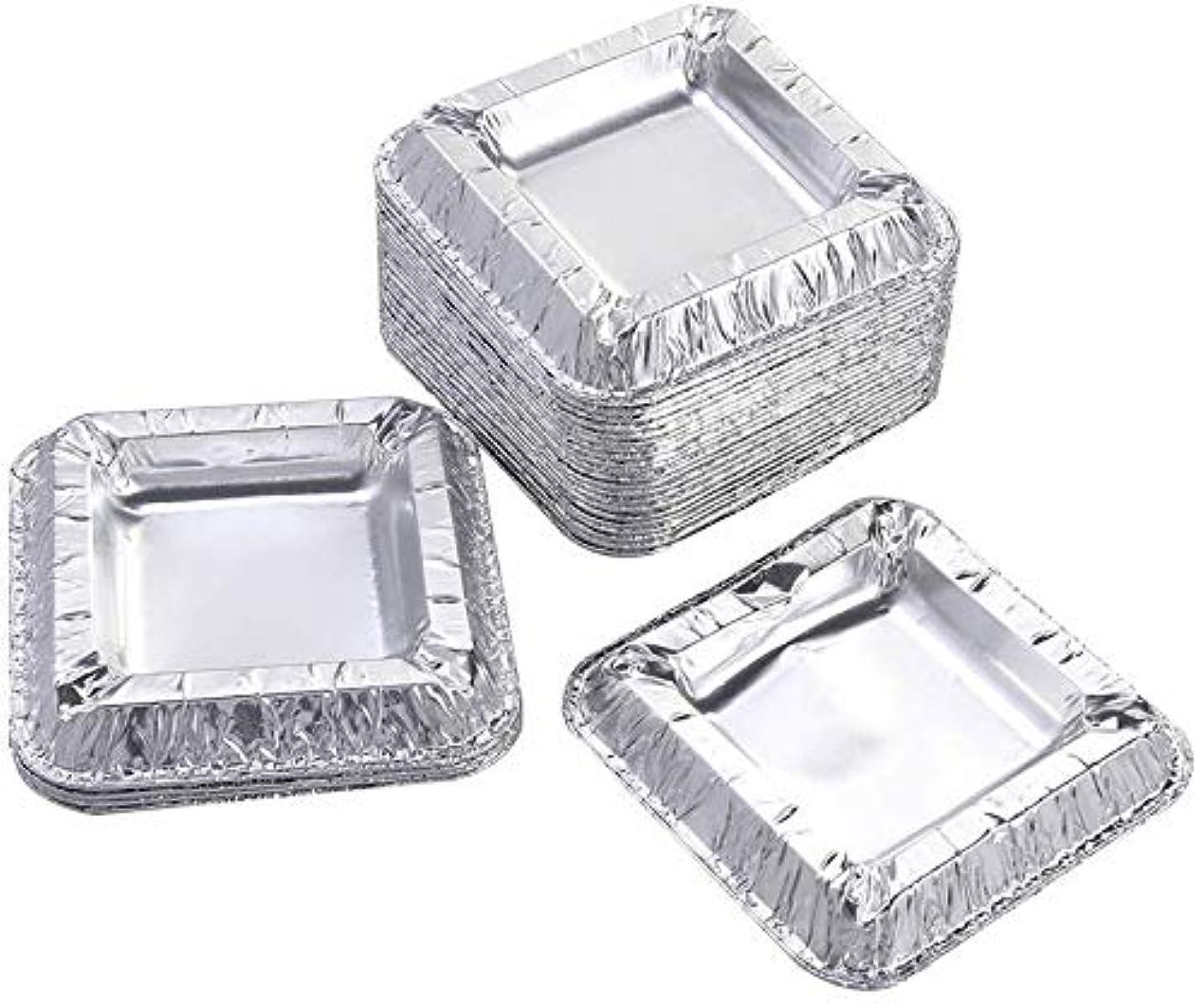 刈り取るインシデント小間30個の正方形のアルミ箔灰皿アンブレイカブル使い捨てシガー灰皿