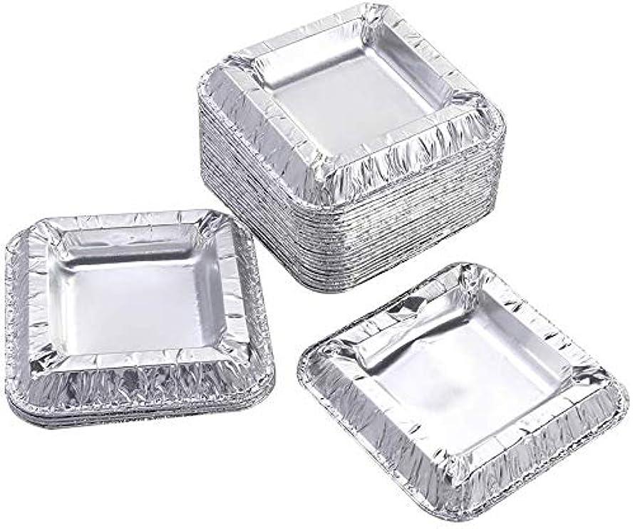 公然とポール拡声器30個の正方形のアルミ箔灰皿アンブレイカブル使い捨てシガー灰皿