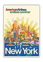 ニューヨーク - アメリカン航空 - 無限の夏 - ビンテージな航空会社のポスター によって作成された ハリー・ヴェンツィンガー c.1971 - アートポスター - 33cm x 48cm