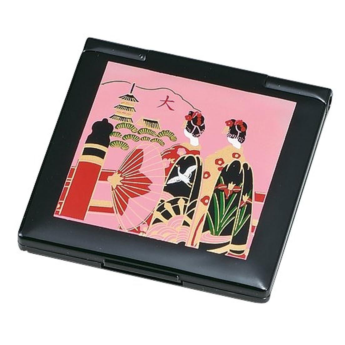 ボード出来事傀儡中谷兄弟商会 山中漆器 コンパクトミラー (レンズ付) 黒 京舞妓33-0405