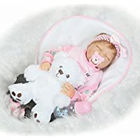 dirance Lifelike Reborn人形Sleepingソフトシリコンフルボディリアルなピンクガールズ人形ビニールreallike新生児赤ちゃん人形with Clothes 55 cm、子供ギフトfor Ages 3 +、under 100ドル F DR