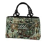 イタリア製生地 ゴブラン織り あおり型 ハンド バッグ 日本製