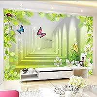 Xbwy 現代の抽象的人格空間拡張壁画壁紙3Dステレオバタフライ花不織布壁紙家の装飾のための壁-350X250Cm