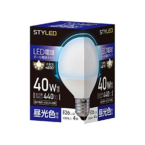 LED電球 一般電球・ボール電球形 口金直径26mm 40W形相当 昼光色相当(4W・440ルーメン) G70(70mm径) SDG40D1