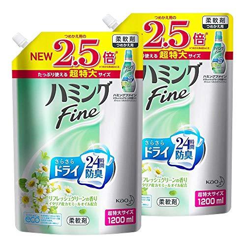 【まとめ買い】ハミングFine 柔軟剤 リフレッシュグリーンの香り 詰め替え 大容量 1200ml×2個