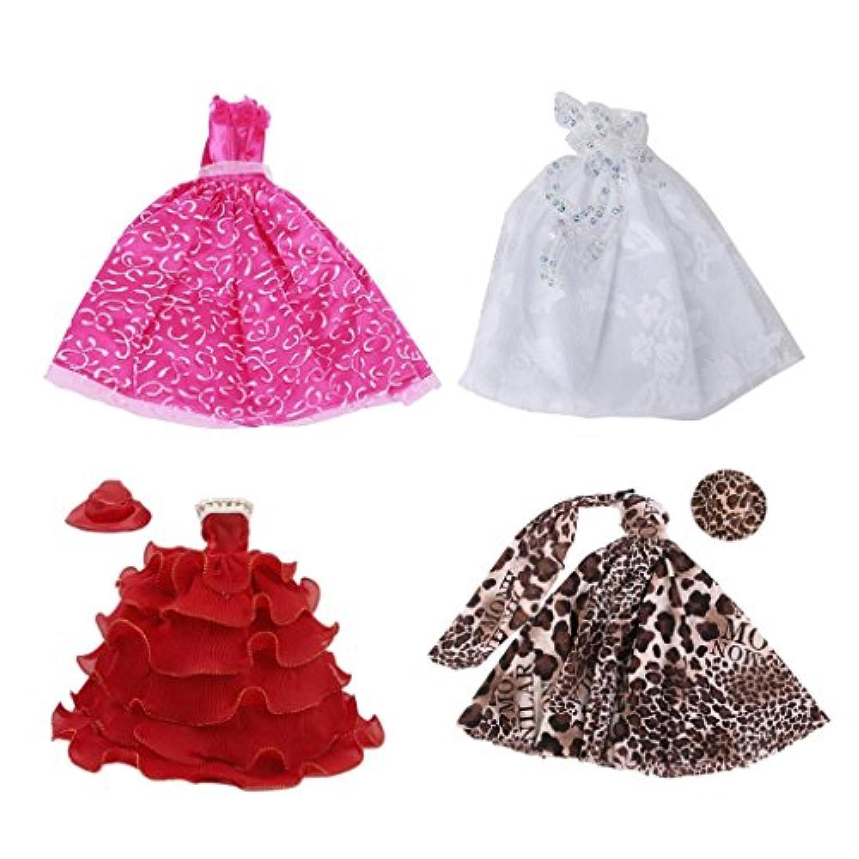 SONONIA 4個セット バービー人形対応  ウェディングドレス  &フル ドレス ストラップレス  &6レイヤードレス ストラップレス  &ヒョウドレス 服