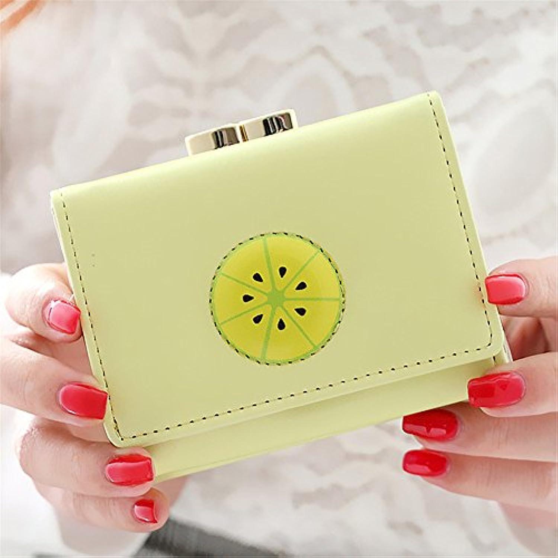 フルーツプリント女性ショート財布 (レモンイエロー)